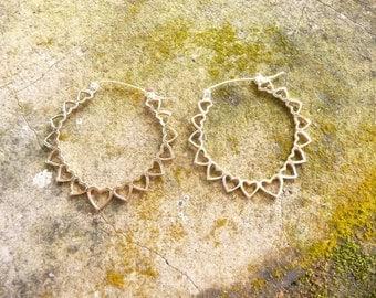 Brass heart hoop earings