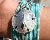 Silk Wrap Bracelet with a Sand Dollar Clasp