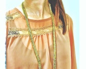 """Brass """"Fishbone"""" Hex Nut Necklace With Spikes"""