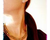 "Brass ""Fishbone"" Graduated Hex Nut Necklace"
