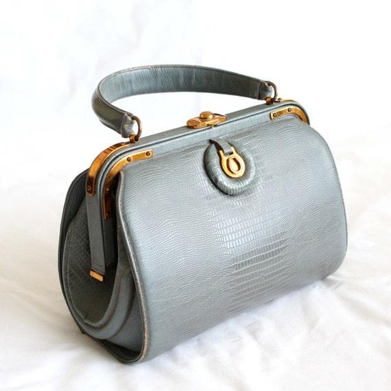 Vintage Handbag 60s ArtCraft Purse Doctor Bag Style in Gray Blue