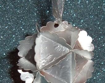 Silver Foil Ornament  - Paper Globe -  Weddings, Christmas, Birthday, Anniversary