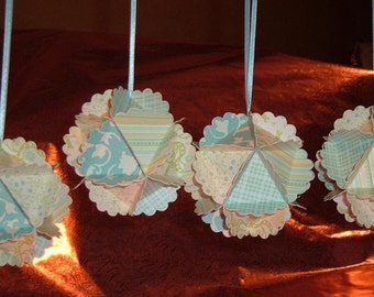 5+ Paper Ball Ornaments - Blues, Yellows, Greens