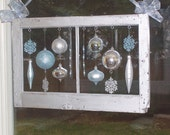 ANTIQUE Wood Window Frame & Ornaments - CHRISTMAS/HOLIDAY Hanging Decorations
