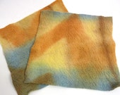 Shibori Hand dyed felted merino wool texture Brown Yellow Blue