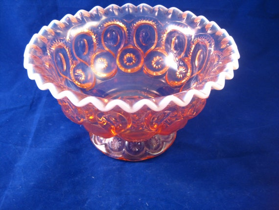 SALE - Beautiful Pink Opalescent Moon and Star Glass Bowl - FREE SHIPPING