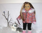 """18"""" Doll Outfit- American Girl Doll Outfit- Winter Jacket, Outfit, Dog, Boots, and Accessories"""