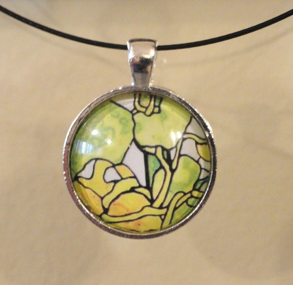 Art Glass Pendant - Abstract Design - Necklace Included