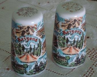 Vintage ARIZONA SOUVENIR Salt & Pepper Shakers: Set of 2- Mid Century Retro Serving
