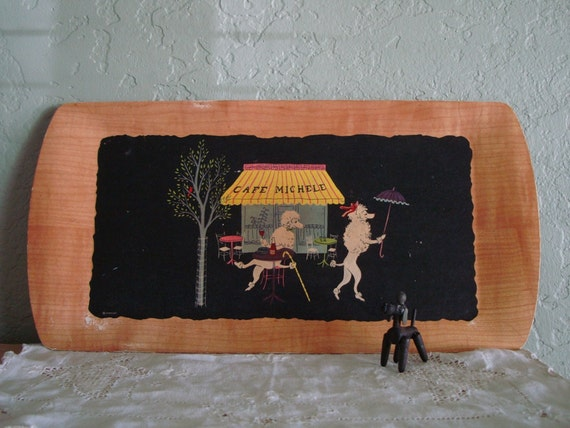 """Vintage 1950s FRENCH POODLES Serving Tray- Mid Century Housewares-""""Fifi & Pepe"""""""
