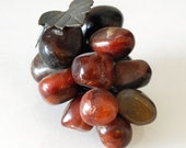 Carnelian small bunch of grapes with brass feaf