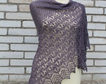Gray-purple hand knitted  triangle lace shawl
