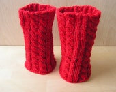 Hand knitted Boot Cuffs Leg Warmers Red