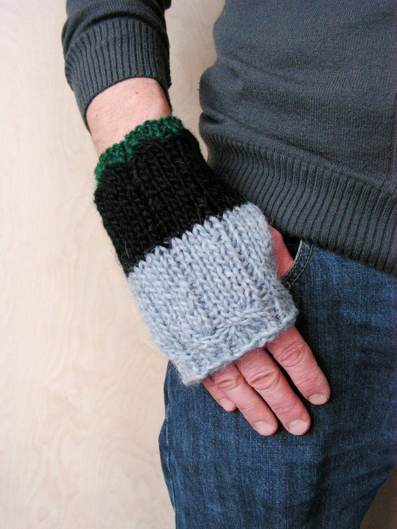 SALE OFF 30% Fingerless Men gloves Grey Black Green