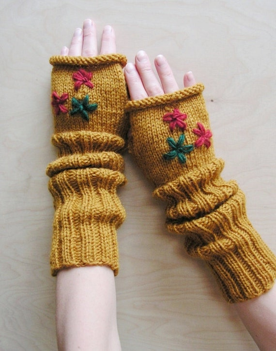 SALE of 40% Hand knitted Women Fingerless Gloves with Embroidered ornament Mustard Green Rust