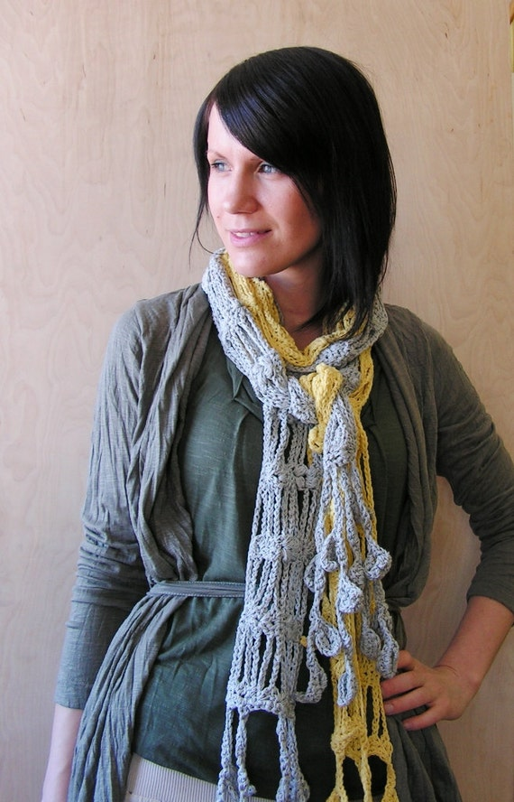 SALE OFF 50% Hand crocheted Women Scarf with Leafs Yellow Spring accessory