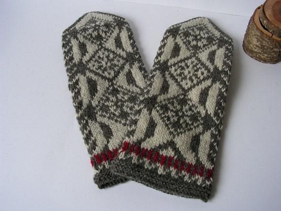 Hand knitted 100% wool Men Mittens