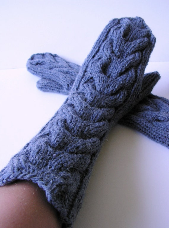 SALE off 30% Hand knitted wool Women Mittens Cable knit  Denim Blue