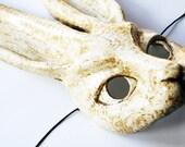 White Rabbit Mask - Paper Mache Animal Mask