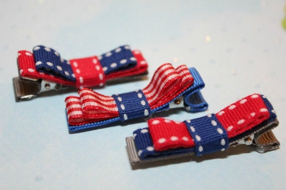 Red & Blue bows (set of 3 hair clips)