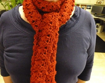 "Autumn Red Crocheted Scarf 5"" x 76"""
