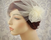 Wedding Veil - Tulle Birdcage Veil with Pouf and Vintage Millinery Stamens, Vintage Style Veil, Flower Veil, 1920s,1930's Bridal Cap - 114BC
