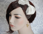 Bridal Bow with French Netting, Detachable Veil, Ivory Bow with Birdcage Veil, Lace Bow, Bridal Hair Accessory with Veil - 107BC