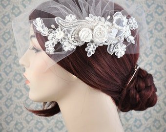 Wedding Veil - Tulle Birdcage Veil with Organza Lace and Silk Rosettes, Ivory lace blusher veil - 121BC