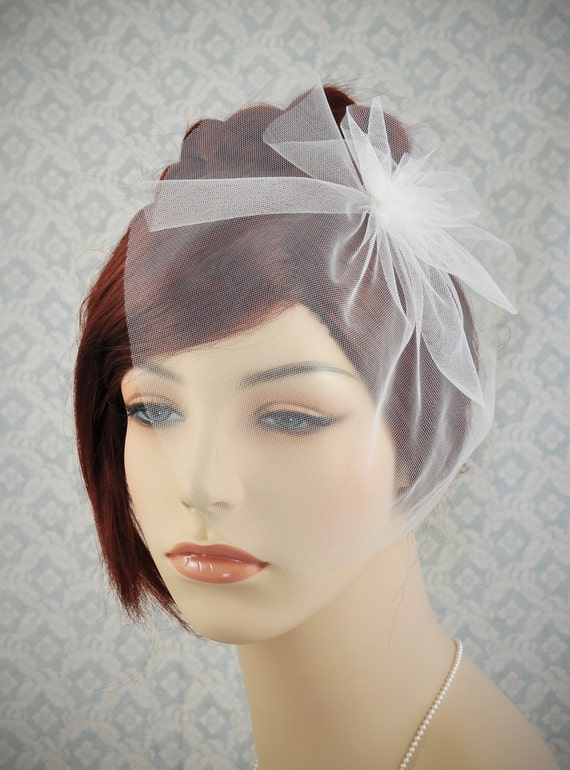 Blusher veil - wedding veil with flower, simple wedding veil in white, off-white, ivory, champagne, blush pink, or black - 116BC