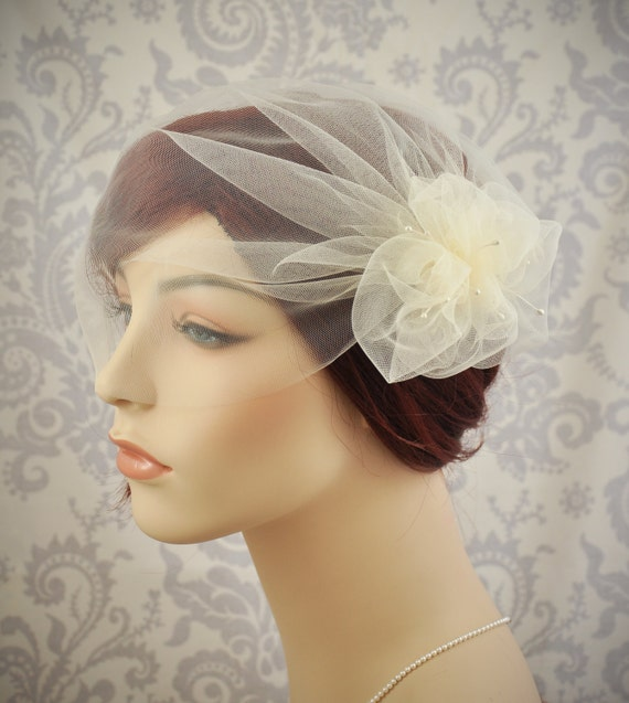Wedding Veil Tulle Birdcage Veil With Pouf And Vintage