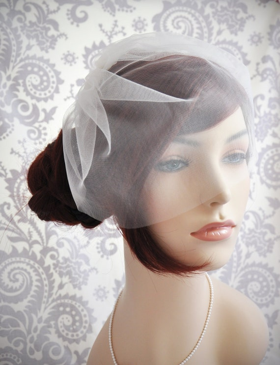 "Wedding Veil - Bridal Veil, Birdcage Veil ivory, Tulle Birdcage Veil, Blusher Veil, ivory, white, off-white, champagne, blush, 11"""