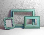 FRAMES - Set of Three Antique Vintage Rustic Aqua Mint Painted Frame