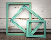 Reserved Until 01/13 - Set of 3 Mixed Sizes Aqua Mint Painted Frame