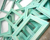Two 8x10 Rustic Vintage Frame in Shabby Chic Aqua Mint With Glass and Backing