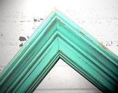Thick RUSTIC 10x13 FRAME - Perfect Rustic Wedding Aqua Mint Color -Thick 10 x 13 Frame - Vintage Shabby Chic Antique Frame