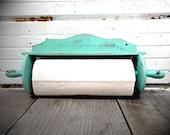 Vintage Paper Towel Holder in Aqua Mint - Shabby Chic Kitchen