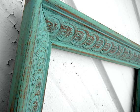 12x18 FRAME - Painted Aqua Mint Turquoise Wood Frame Detailed and Chunky 12 x 18 Frame