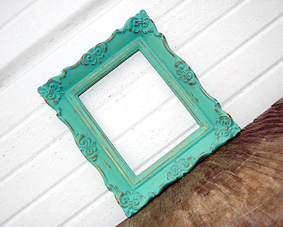 Antique Mint 4 x 5 FRAME - Sweet Little Vintage Ornate Aqua Mint 4x5 Frame