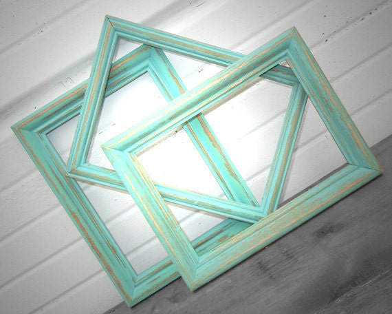5x7 FRAME COLLECTION - Set of Three Little Rustic Aqua Mint 5 x 7 Frames