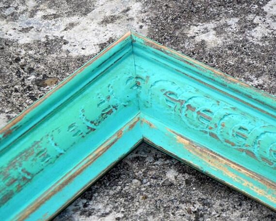 aqua mint frame antique vintage aqua mint ornate 18 x 24 painted 18x24 frame