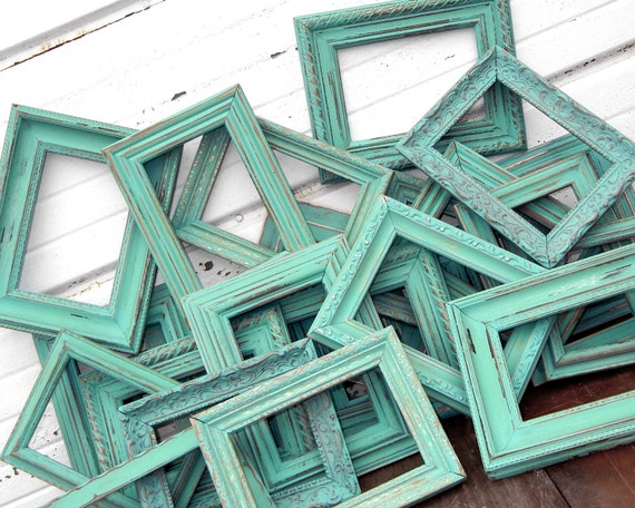 One 8x10 Rustic Vintage Frame in Shabby Chic Aqua Mint
