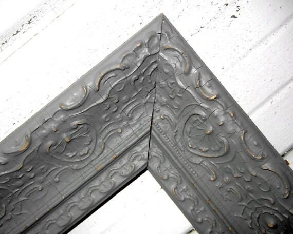 18x24 gray frame large antique vintage ornate 18 x 24 old and crackled frame