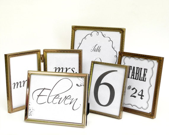 METAL FRAME SET -  Set of Five Vintage Gold Metal Frames