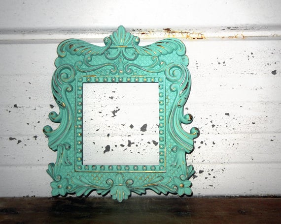 Antique Mint 4  1/2 x 5  FRAME - Sweet Little Ornate Aqua Mint Frame with Little Swirls, Balls and Ruffles