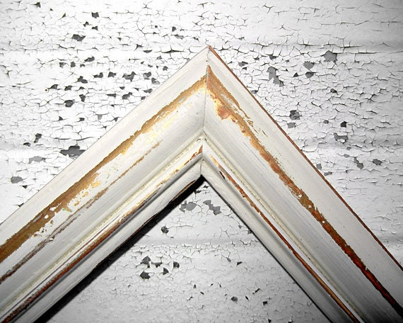 One 8x10 Rustic Vintage Frame in Shabby Chic Antique White and Gold