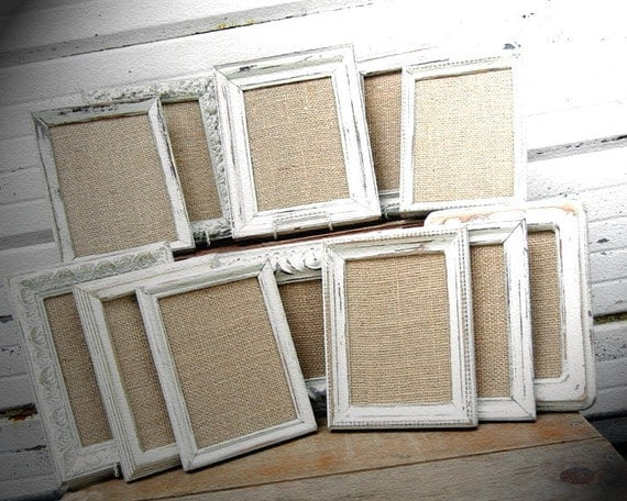 Five 5x7 Rustic Ivory Frames with Burlap OR Glass For Table Number Or Centerpiece Frame