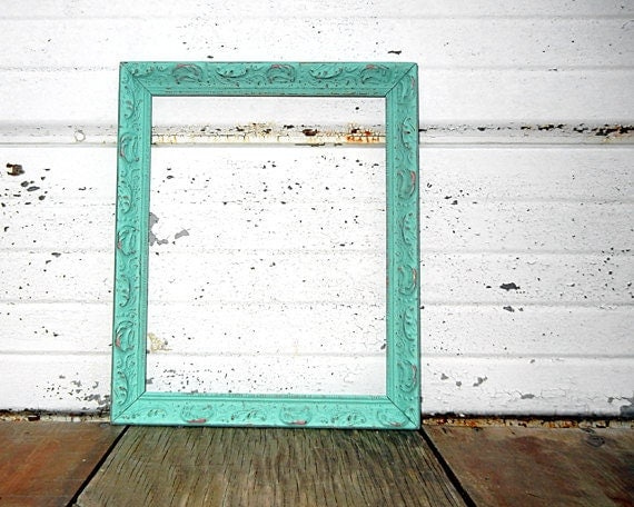 8x10 Ornate Mint FRAME with pink and gold highlights - Vintage 8 x 10 Ornate Shabby Chic Aqua Mint Frame