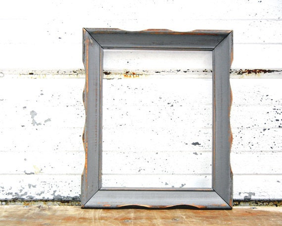 8 x 10 Gray FRAME - Vintage Gallery Wall Frame or Wedding Decor Romantic Cottage
