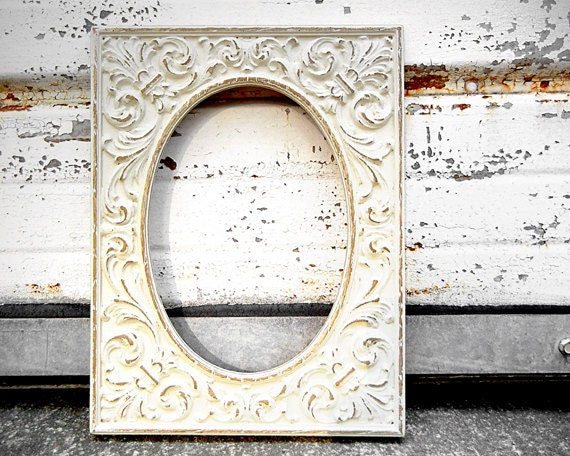 5 X 7 Ornate Oval Picture Frame Rustic Ivory Fancy Wedding