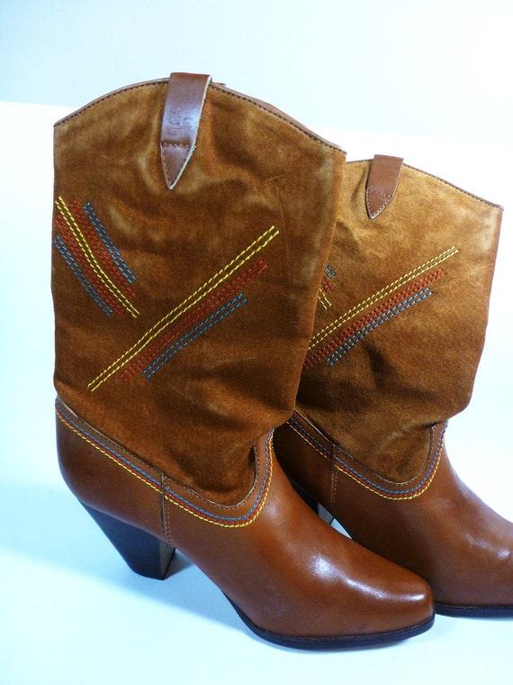 suede tobacco brown vintage cowboy boot - size 10 leather boot - 1970s Nine West cowgirl boots - damage, see photos